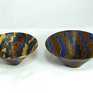 Two bowls from stabilized pan blanks