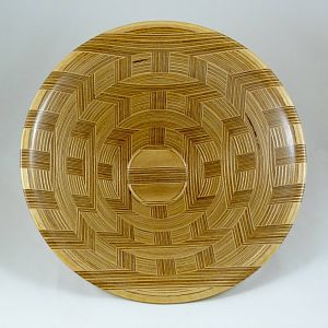 Plywood Bowl, Basket Weave Design, Interior