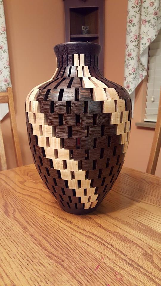 Open Segmented Vase Wenge Wood And Curly Maple Woodturner Pro